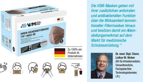 5 x Viren-Sicherheitsmaske Typ 14683 IIR - patentiert - Made in Germany!